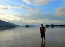 William paddling in the Mekong in Laos