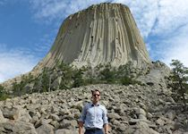 Alex at Devil's Tower in Wyoming, the USA