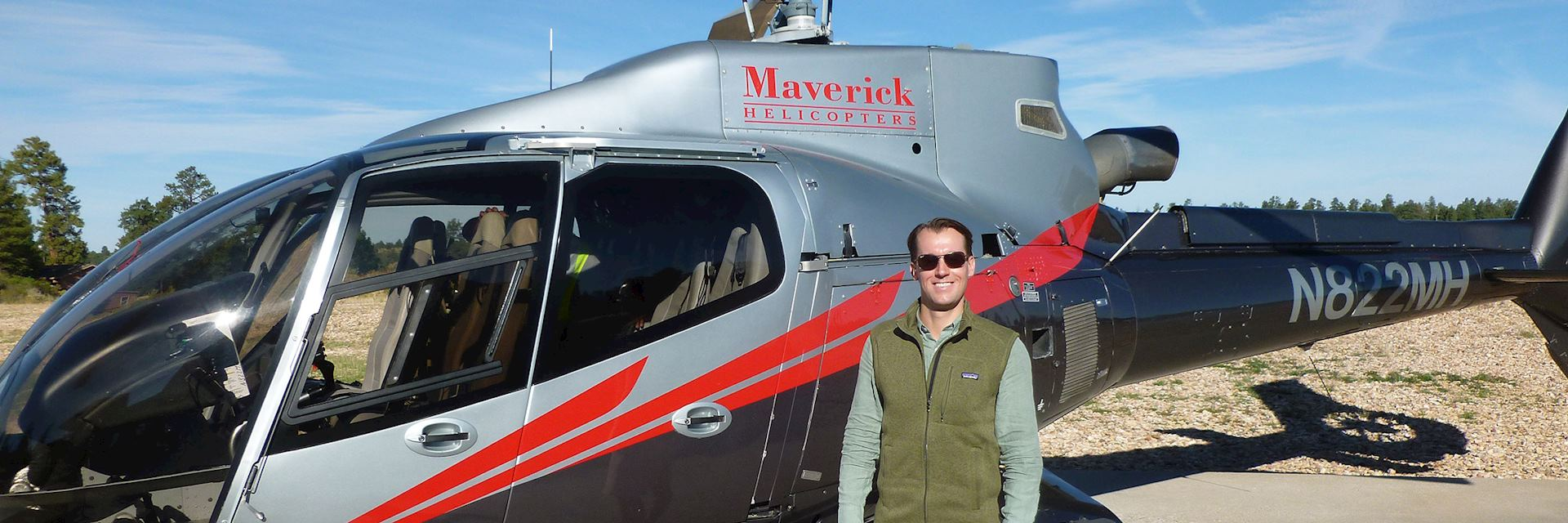 Alex preparing for a helicopter flight over the Grand Canyon, the USA