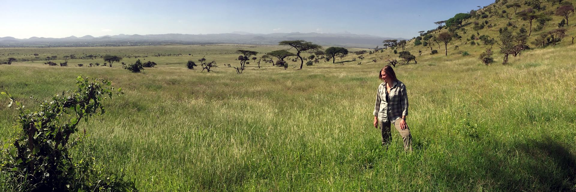 Amy on a walking safari in Lewa Wilderness Conservancy, Kenya