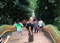Blair on her descent down from Doi Suthep temple in Chiang Mai, Thailand