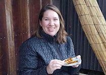 Caitlin eating Midarashi Dango in Tsumago
