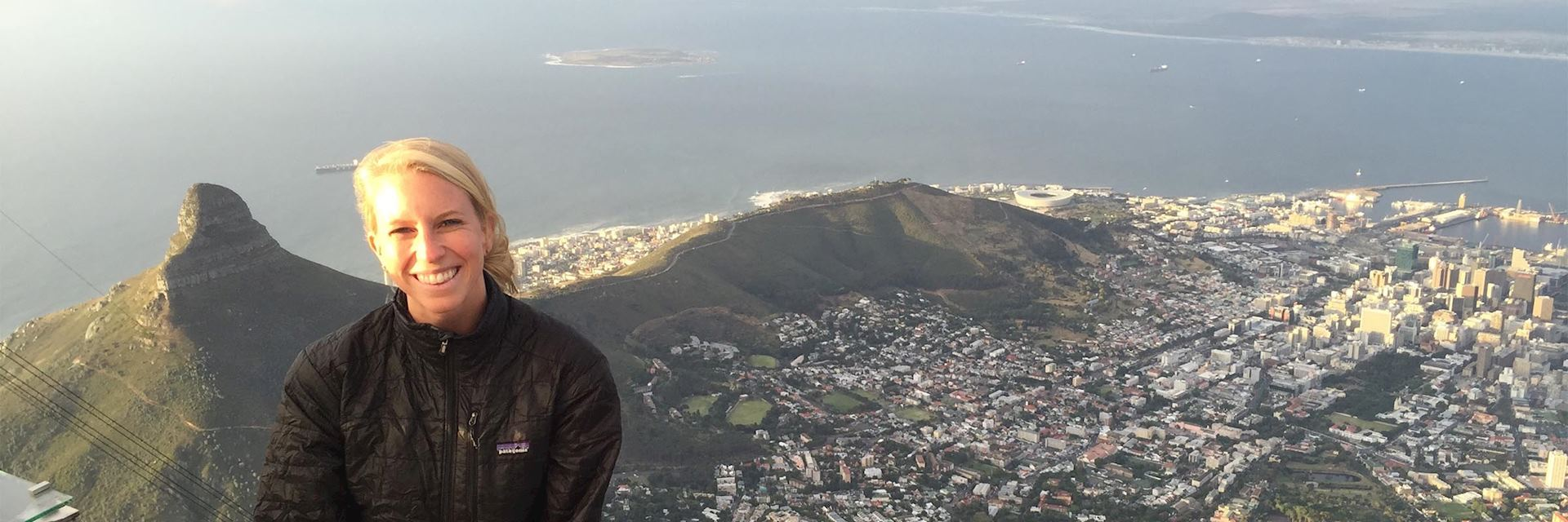 Hailey on top of Table Mountain overlooking Cape Town