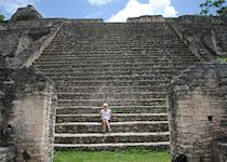 Katie at the archaeological site Caracol in Belize