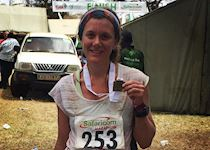 Katie after completing the Lewa Marathon in Kenya