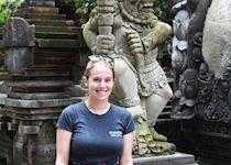 Lauren at Pura Tirta Empul in Ubud