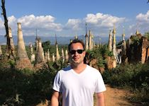 Matt in front of the 2,000 plus pagodas and temples in Bagan, Myanmar
