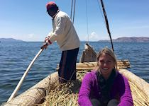 Megan on a reed boat ride in Peru