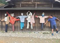 Blending in with the scarecrows in Shirakawago, Japan