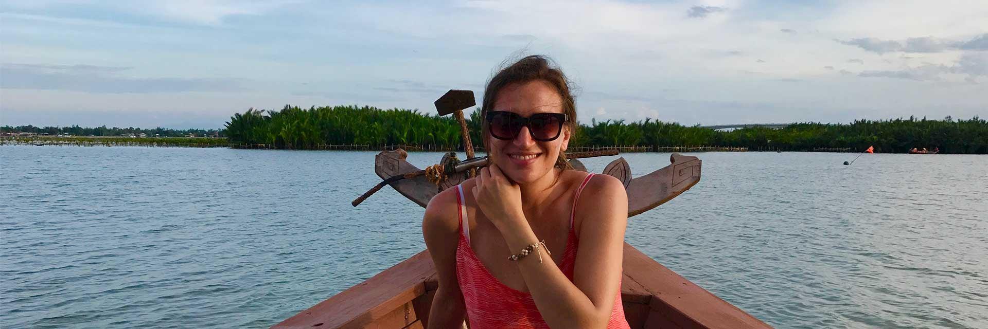 Rachel boating in Hoi An