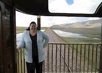 Rachel on the train to Cusco