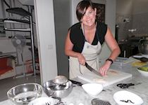 Shannon at an Italian cooking class