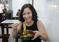 Enjoying hand pulled noodles in Xian