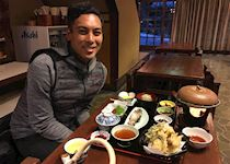 Tristan at a traditional multi-course Japanese meal in Magome