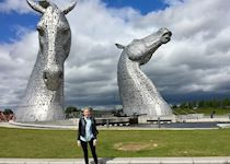 Victoria in front of The Kelpies, Scotland