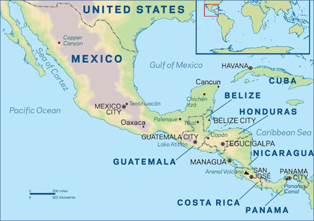 map of central america mexico and cuba