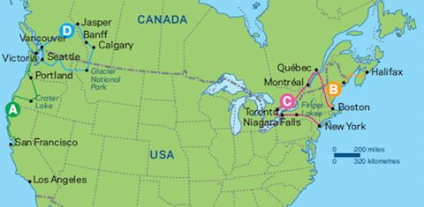 The USA And Canada Audley Travel - Canada us border map